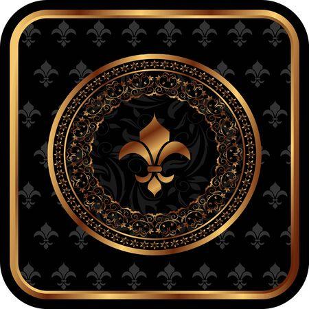 Illustration royal golden frame with fleur de lis - vector