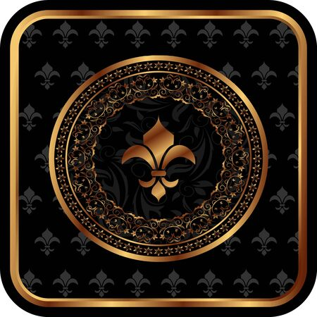 Illustration royal golden frame with fleur de lis - vector