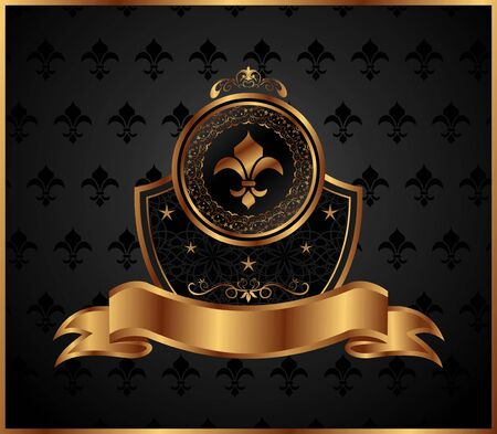 aristocrat: Illustration royal golden frame with fleur de lis - vector
