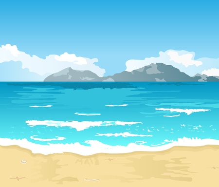 on the shore: Illustration beautiful summer background with beach - vector