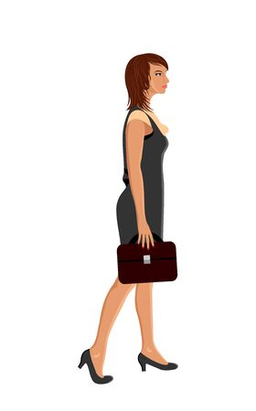 Illustration business women with case goes for work - vector Vector