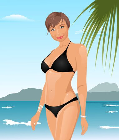 Illustration pretty girl on summer background - vector Vector