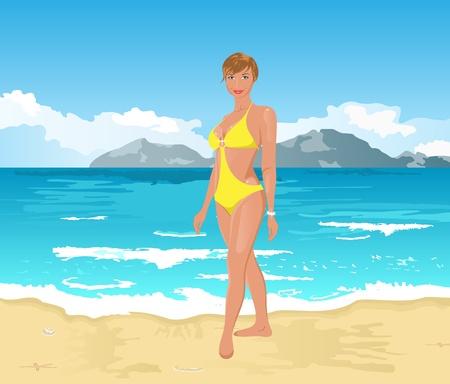 outdoor glamour: Illustration pretty girl on summer background - vector Illustration