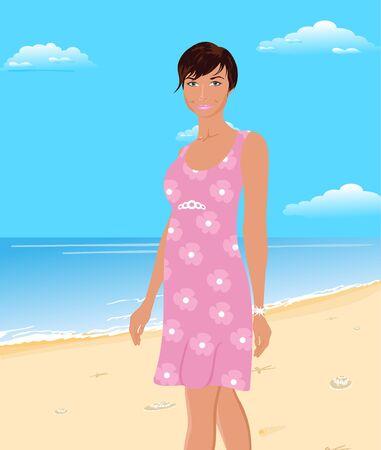 sundress: Illustration beautiful girl on beach - vector