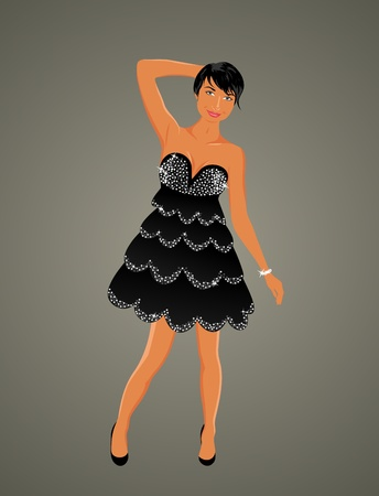 Illustration beautiful girl dancing isolated - vector Vector