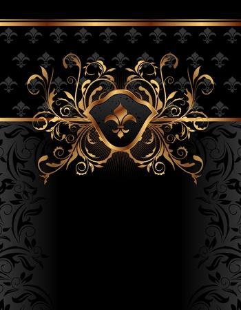 Ilustracja złoty ozdobny rama do projektowania - wektor
