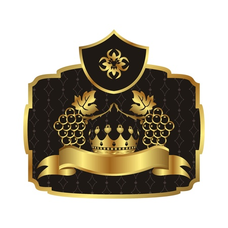 Illustration gold label with grapevine with crown - vector Stock Vector - 9718325