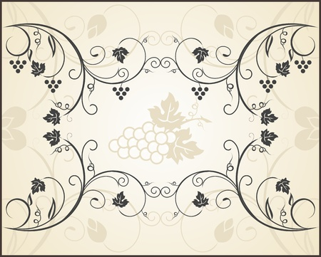 Illustration retro floral frame with grapevine - vector Vector