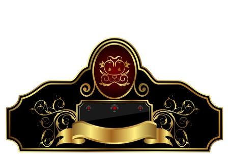 Illustration decorative gold frame label - vector Illustration