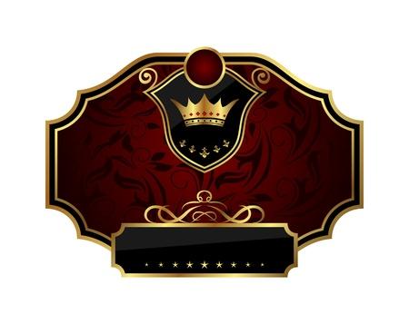 EtykietÄ™ klatki ZÅ'otego ilustracji z korony - wektorowe Ilustracja