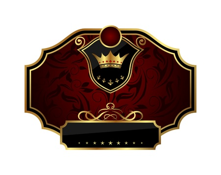 Illustration golden frame label with crown - vector