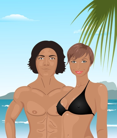 Illustration young couple on the beach - vector Vector