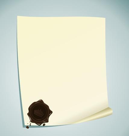 edicto: Ilustración de papel precinto de cera marrón - vector Vectores
