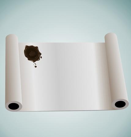edicto: Ilustración de papel rollo con sellado de cera marrón - vector Vectores