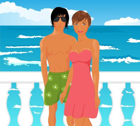 Illustration young couple on quay at the sea - vector
