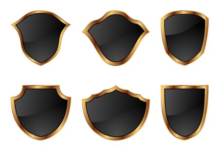 Illustration set of shields in 6 different shapes - vector Vector