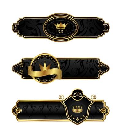Illustration black-gold decorative frames - vector Vector