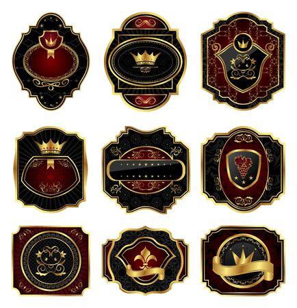 nobile: Illustrazione di oro cornici decorative - vettore