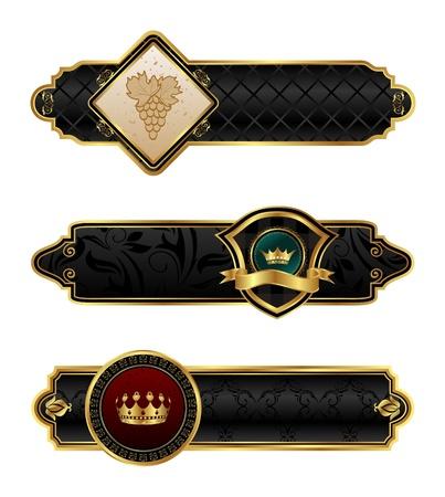 Illustration black-gold decorative frames - vector