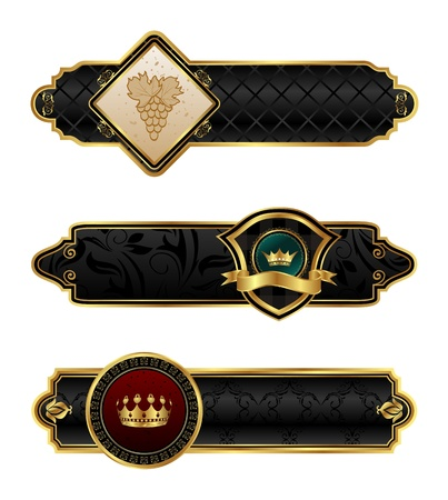 Illustration black-gold decorative frames - vector