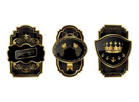 Illustration black-gold decorative frames - vector Stock Vector - 9722096