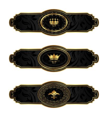 Illustration set black-gold decorative frames - vector Vector