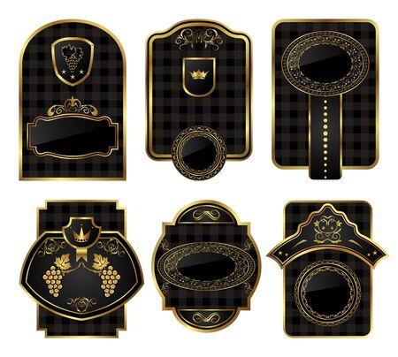 Ilustracja ustaw czarnego złota i dekoracyjnych ramki - wektorowe