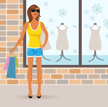 shorts t shirt sexy: Illustration modern girl with shopping bags - vector Illustration