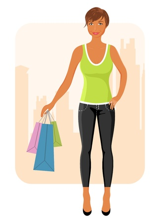 Illustration girl with purchases goes around city - vector Vector