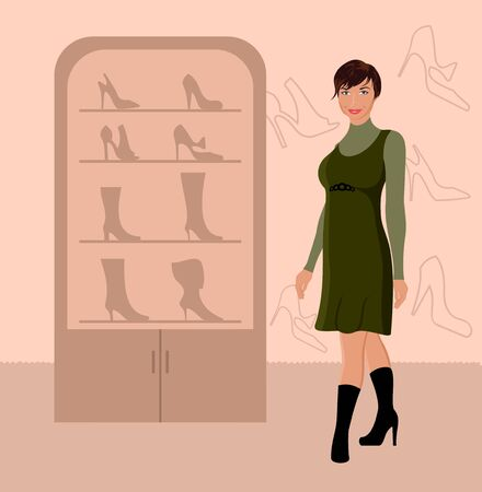 Illustration fashion girl shopping in shoe shop - vector Vector