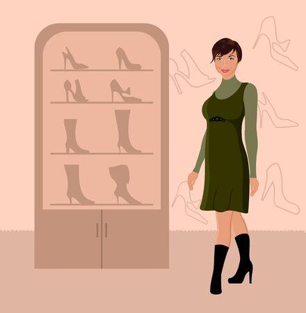 Illustration fashion girl shopping in shoe shop - vector Vector
