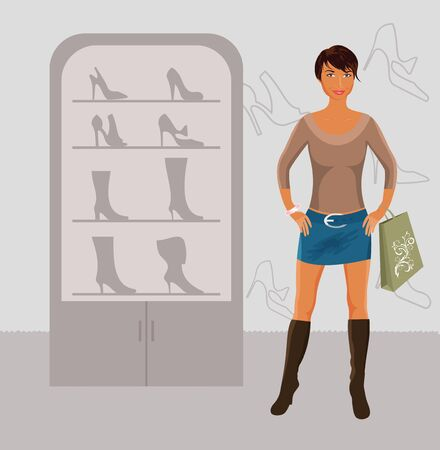 sexy woman standing: Illustration fashion girl shopping in shoe shop - vector