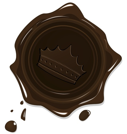 seal of approval: Illustration of wax grunge brown seal with crown isolated on white background - vector Illustration