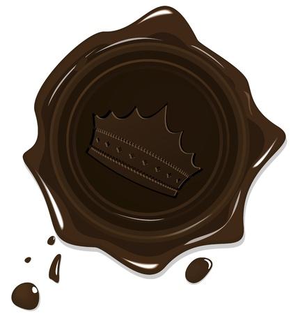 Ilustracja z wosku grunge brązowy pieczęć z koroną na białym tle - wektor