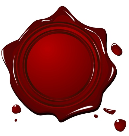 wax stamp: Illustration of wax grunge red seal isolated on white background - vector Illustration