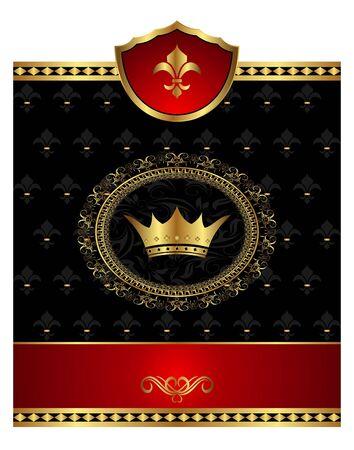 Illustration vintage post mark with heraldic elements - vector illustration