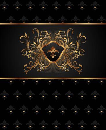 black history: Illustration golden frame with heraldic elements - vector