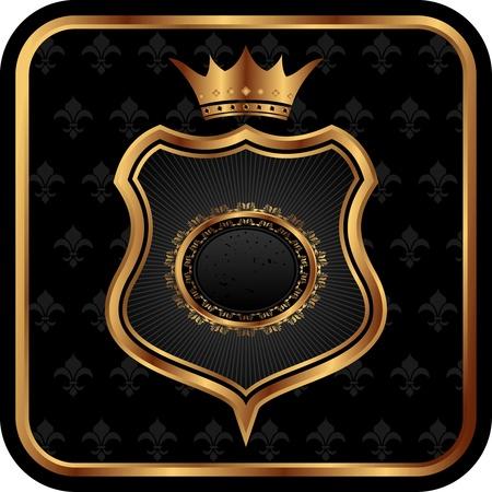 escudo de armas: Marco de ilustraci�n elegante her�ldica oro - vector