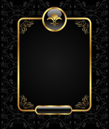 nobility: Illustration royal background with golden frame - vector