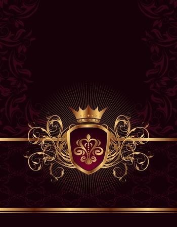 Illustration golden ornate frame with crown - vector Stock Illustration - 9896130