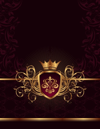 royal background: Illustration golden ornate frame with crown - vector