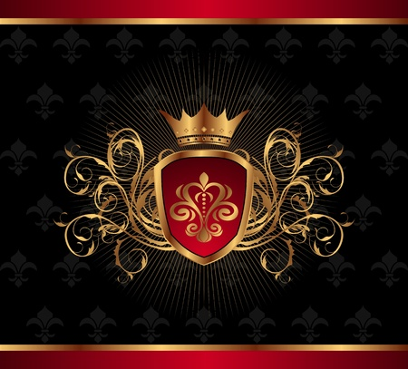 Illustration golden ornate frame with crown - vector Stock Illustration - 9896138