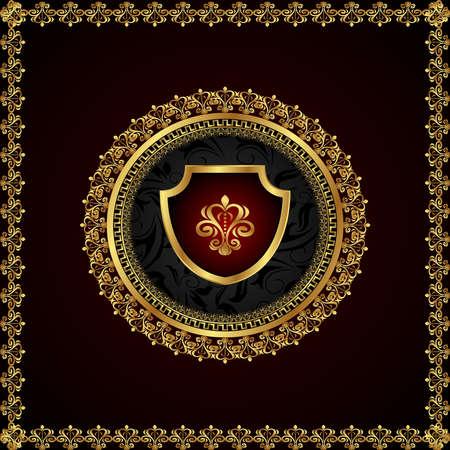 Illustration golden floral frame with heraldic elements - vector illustration