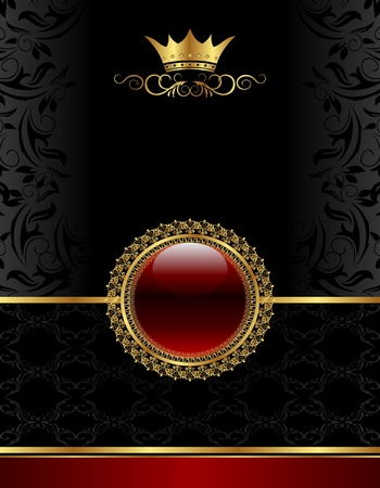 Illustration golden vintage frame with floral medallion- vector illustration