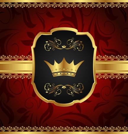 Illustration golden vintage frame with crown - vector illustration