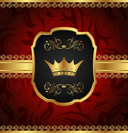 crown background: Illustration golden vintage frame with crown - vector Stock Photo