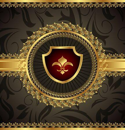 lis: Illustration vintage with heraldic elements - vector
