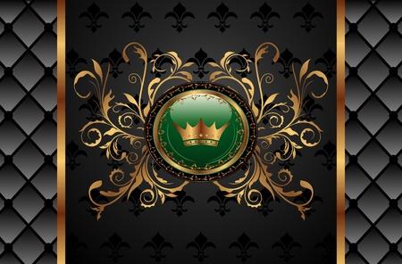 Illustration vintage background with crown - vector illustration
