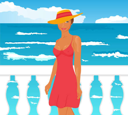 Illustration girl on quay at the sea - vector Stock Illustration - 9896114