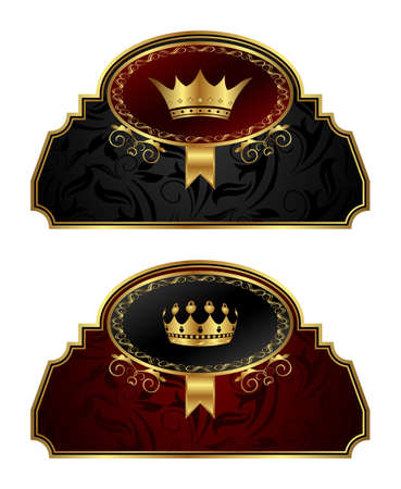 Illustration set gold vintage labels with crown - vector illustration